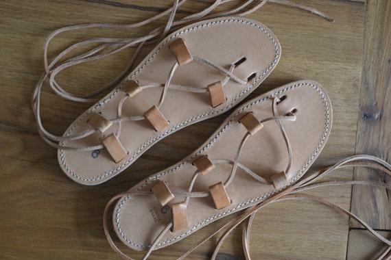 Sandalias de cuero hecho a mano, griego auténtico