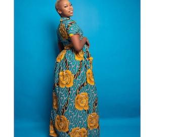 Women's Dress, Ankara Gown, Blue & Yellow Maxi Dress, African Print Dress-African Print Clothing, Dress with Split,