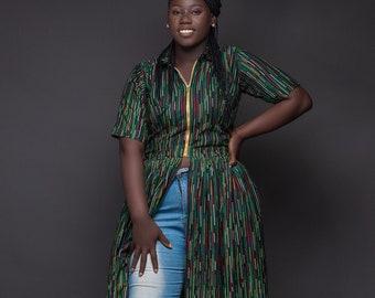 African Print Dress, Ankara Dress, African Print Dress with gold zipper,