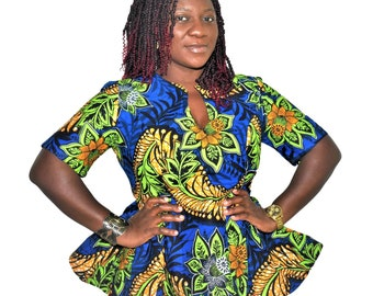 Ankara Peplum Top-African Print Top-African Clothing for Women-Ankara Top-African Blouse-Women's Clothing-Ankara Clothing-African-Blue top