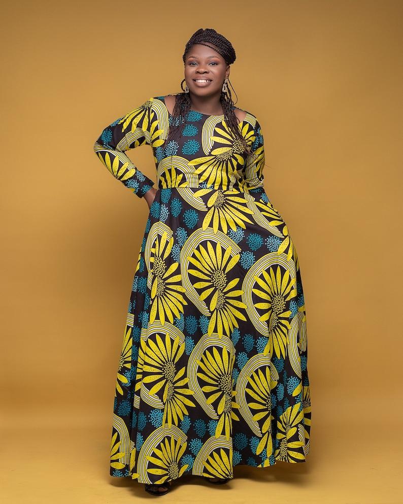 Formal Dress Women/'s Dress Cold Shoulder Maxi Dress African Print Dress-African Clothing-Ankara Clothing-Ankara Dress-Yellow Dress