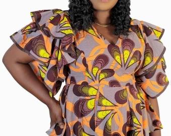 African Clothing-African Print Top W/ Butterfly Sleeves-Ankara Top-Women's Clothing-Blue Top-African Fabric-Ankara Blouse-Peplum Top
