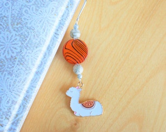 Decorative metal bookmark, silver color. Alpaca, llama charm.Orange and beige beads. Handmade book mark, teacher gift, educator, babysitter