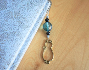 Decorative metal bookmark, silver color. Bookmark with cat pendant, cat charm. Gold and blue color. Reading accessory