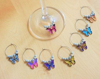 Set of 8 decorative wine glass identifiers, butterfly charm. Glass markers, metal ring, accessory for wine. Glass charms for party