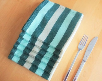 Set of 6 square acrylic napkins. Striped table accessory. Hand woven on traditional loom. Green and beige napkins