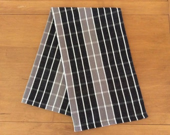 100% cotton handwoven dishcloth. Black, grey and white  linen. Hand woven on traditional loom