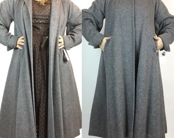 VOLUP 1940s 50s Vintage Long Grey Wool Swing Coat with Persian Lamb Collar, Size L XL