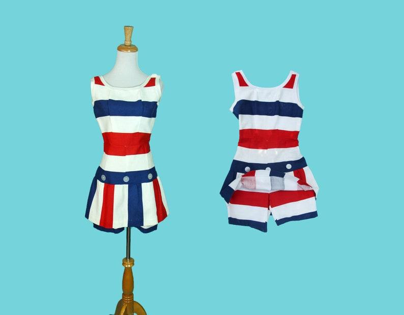 df98096e5d93 Vintage 1960s Romper Summer Dress Playsuit Red White Blue | Etsy