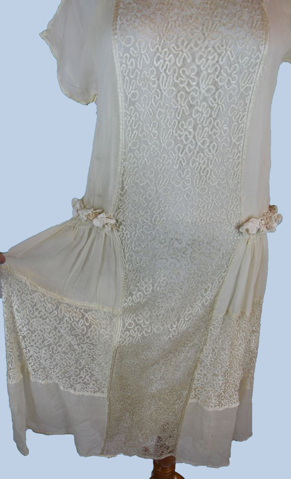 S de Pure White Silk and Size Vintage Flowers Condition Wearable Great Party Wedding Robe Dress 1920s Style XS Slip Lace Dress with nqqTX60