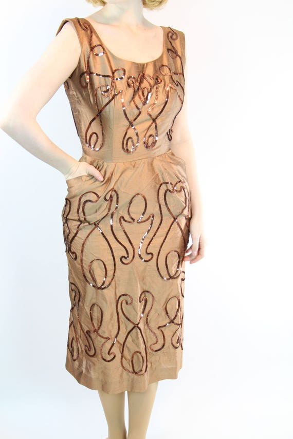 1950s VLV Marilyn Wiggle with Silk Size S Monroe Sheath Sequins Dress 74qRqaO