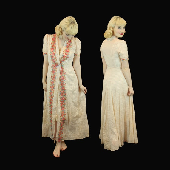Vintage 1930s Long Maxi Printed Cotton House Dress