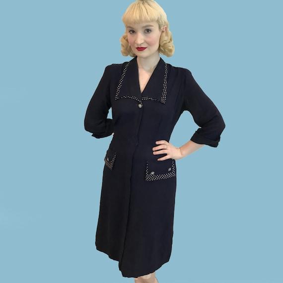 Vintage 1940s Blue Rayon Shirt Dress with polka do