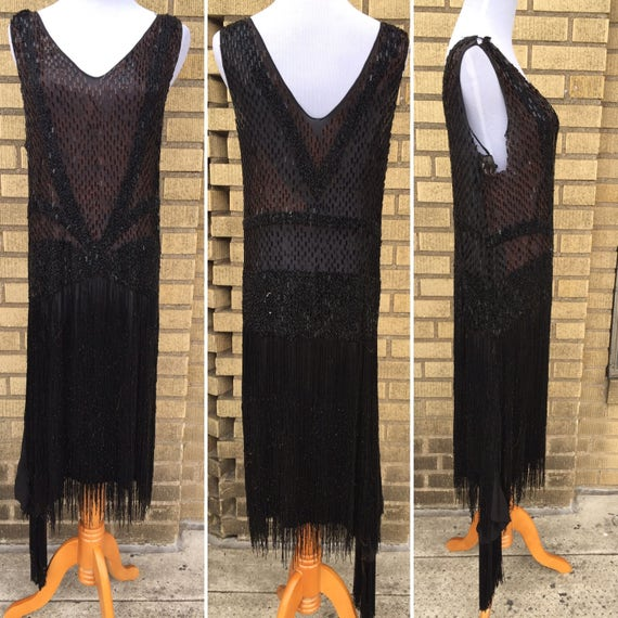 RARE 1920s Flapper Dress Black Silk Chiffon Beaded Sequins all over, Sequin Fringe with Extra Panel, Jazz Era Prohibition Size XS S