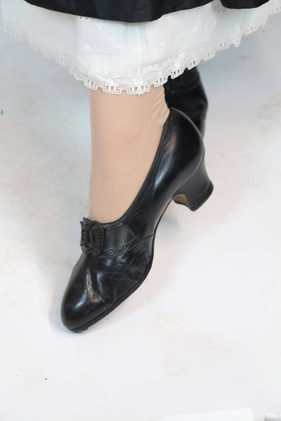 Tap Larue Shoes RARE 7 French Buckle size Edwardian Leather 5 7 Dance Leather 1900s J wtXrnX7qTv