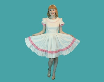 Vintage Summer Square Dancing Dress White Cotton with Pink Ribbon Trim Circle Skirt  Size S  XS