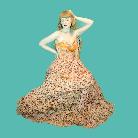 XS Lace Tiered Cupcake Skirt Multi amp; Princess Burlesque Dress Size Chiffon 1950's Vintage Layer Orange Ballgown gZSnn4
