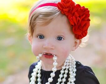 Baby headbands, infant headbands, new baby girl gift, its a girl gift, flower headbands, red headbands, newborn headband, christmas headband