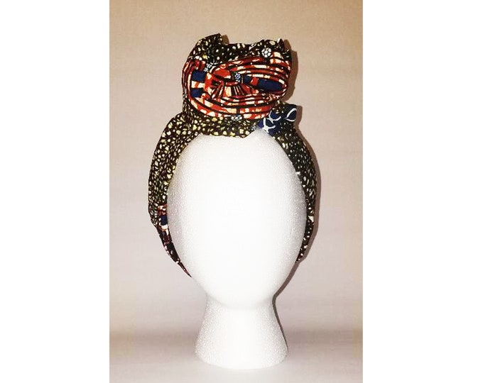 Sheila Moldable Headband-ARMY RUST ANKARA