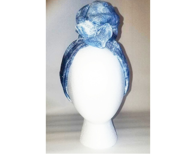 Sheila Moldable Headband-Denim Tie Dye