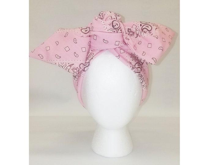 Sheila Moldable Headband-PINK BANDANNA