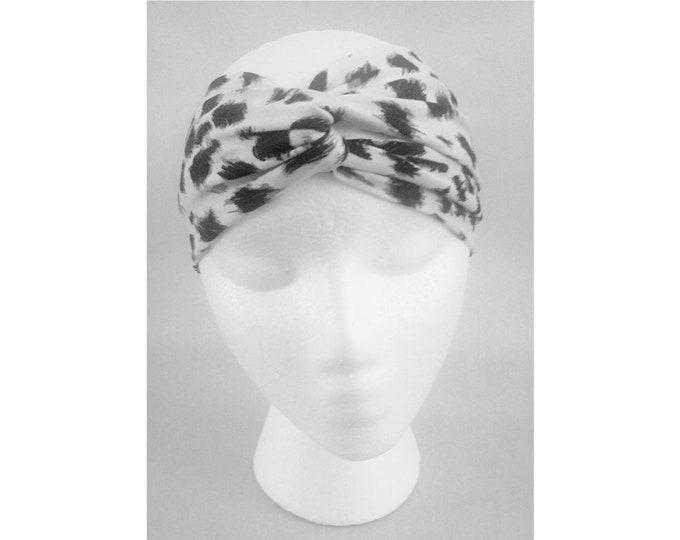 Wanda Black & Ivory Jersey Animal Print Turban (Price Varies From Adult to Baby)