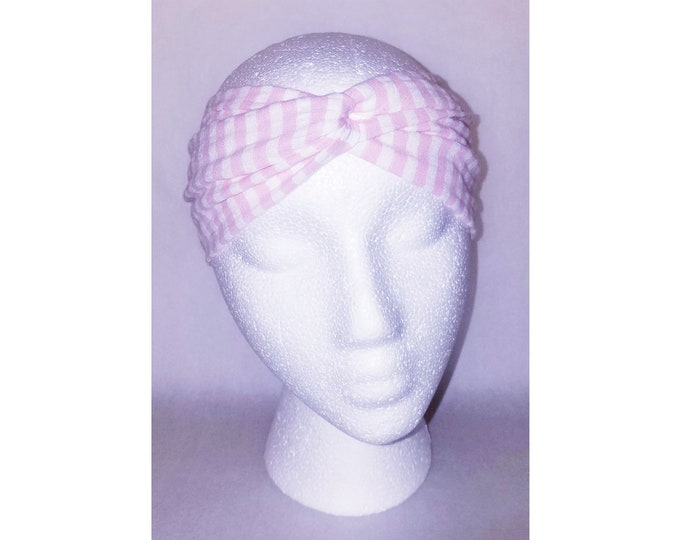 Wanda Seersucker Pink & White Turban (Price Varies From Child to Baby)