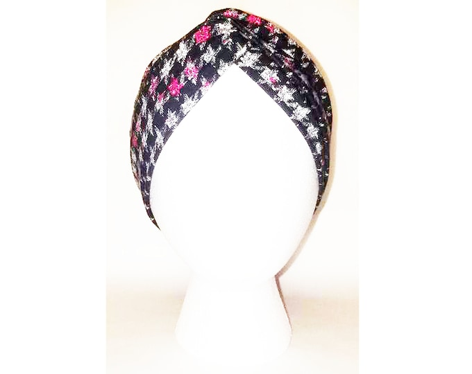 Wanda Pink Ivory & Black Houndstooth Turban (Price Varies From Adult to Baby)