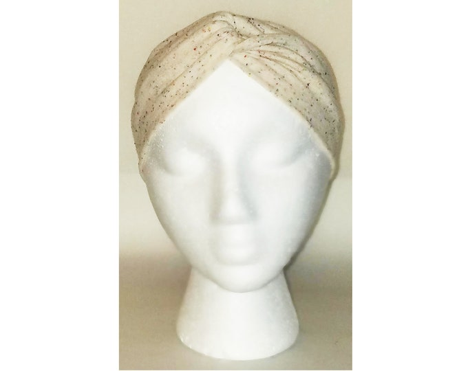 Wanda Natural Speckle Print Jersey Turban (Price Varies From Adult to Baby)