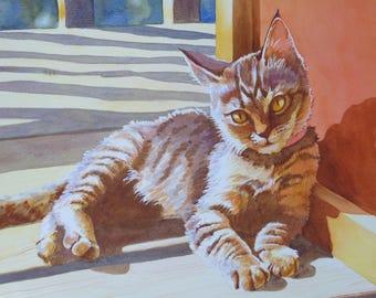 Custom Cat Portrait Watercolor Painting w/ full background - 11x14