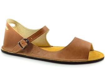 4e79dd4d3711 Brown Leather Sandals - Minimalist Sandals - Zero Drop Sandals Made in USA  - Minimal Sandals - Adult Softstar