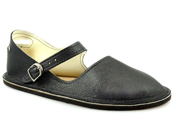 dc1ec42406d6 Black Mary Jane Flats - Handmade Leather Shoes - Minimalist Shoes - Leather  Mary Janes - Minimal Shoes - Adult Softstar