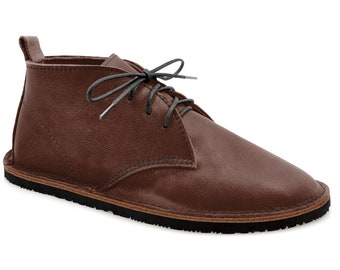 """Brown Chukka Boots - Brown Leather Boots - Brown Ankle Boots - Minimalist Shoes Made in USA - Adult Softstar """"Hawthorne Chukka"""" Style"""