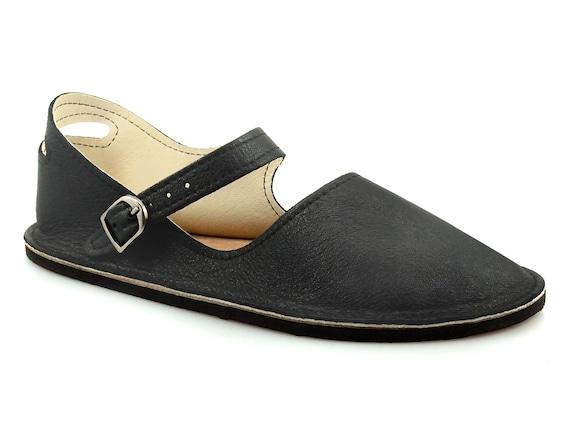 Black Mary Jane Flats Handmade Leather