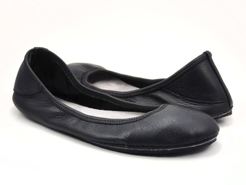 26acf2889c48 Black Ballet Flats Black Flats Shoes Black Leather Flats