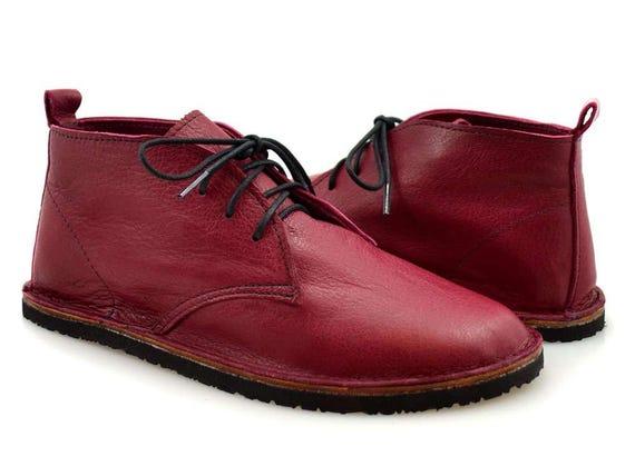 Erwachsenen Schuhe Stiefel Stiefeletten Usa Leder Softstar Made Minimalistischen In Rotes Roten Rote Chukka ZuPikX