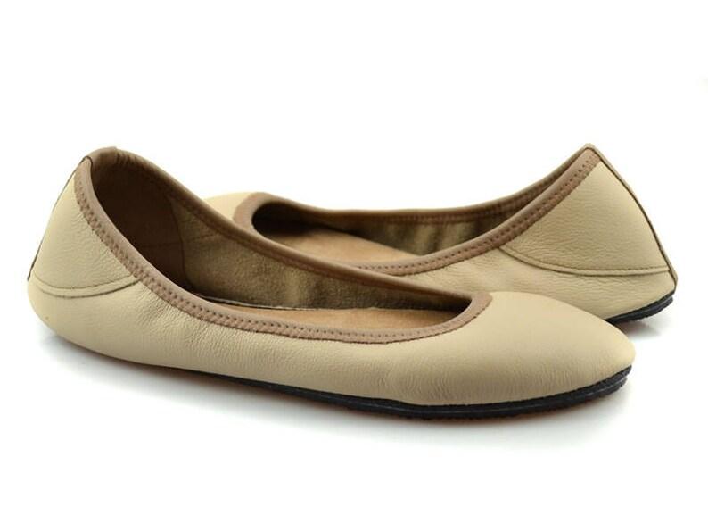 530343e9d41a Tan Ballet Flats Neutral Leather Flats Beige Flats Shoes