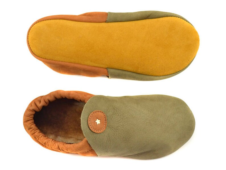 Soft Leather Moccasins in Loden and Scotch Nubuck - Moccasin Slippers -  Minimalist Slippers - Adult Softstar