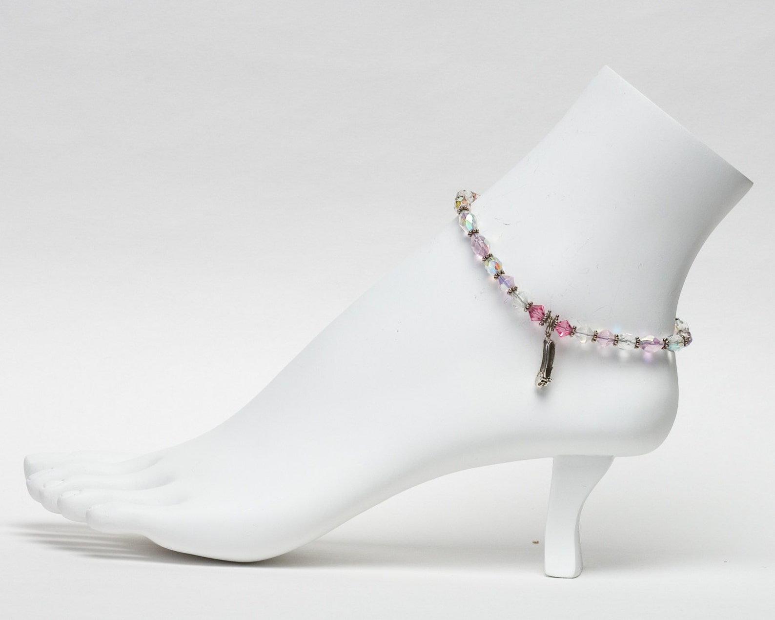 crystal ballerina anklet with ballet slipper charm