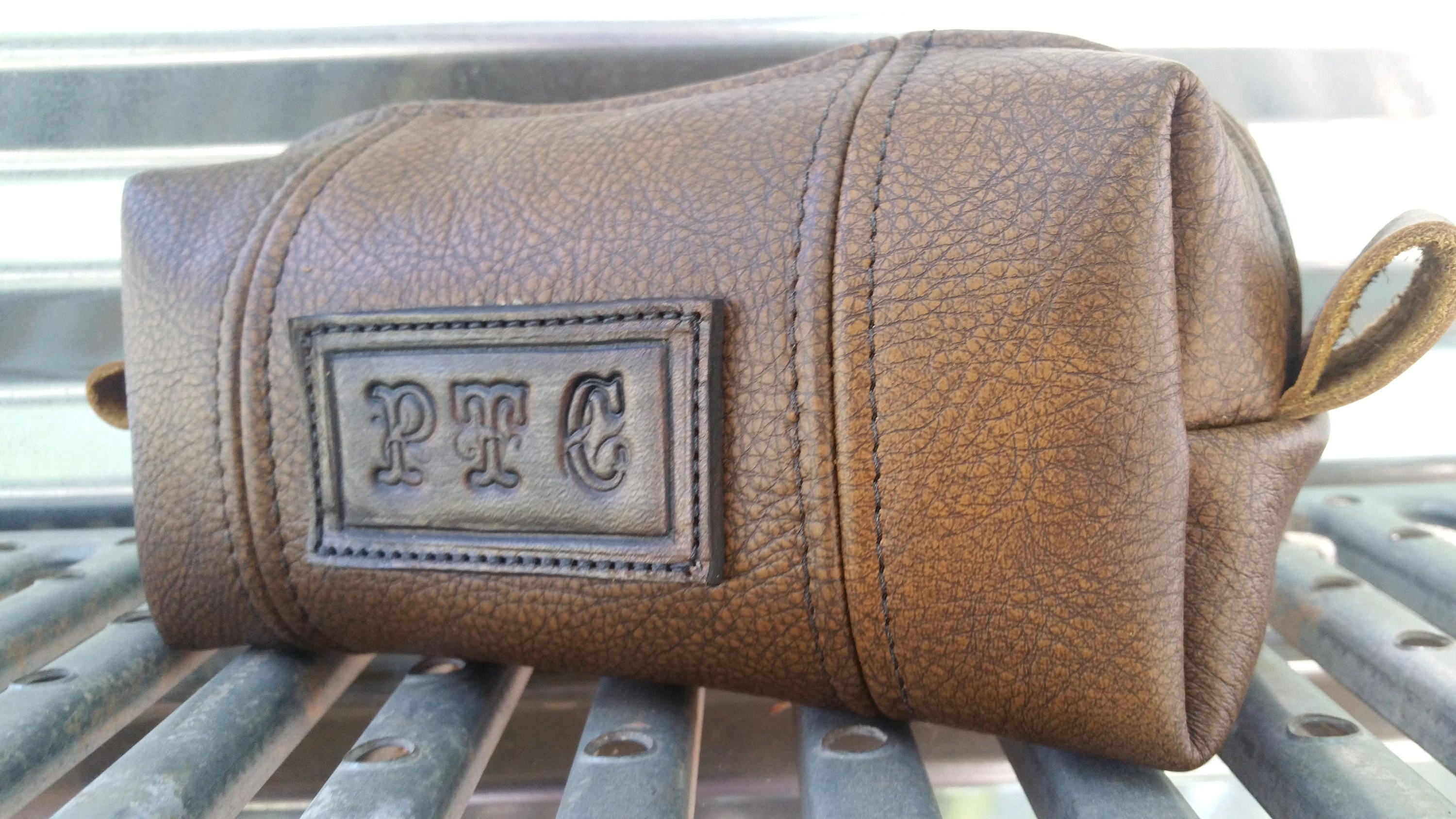 866d9045d6d5 Chestnut Leather Bag with Hand tooled Patch  Leather Dopp Kit