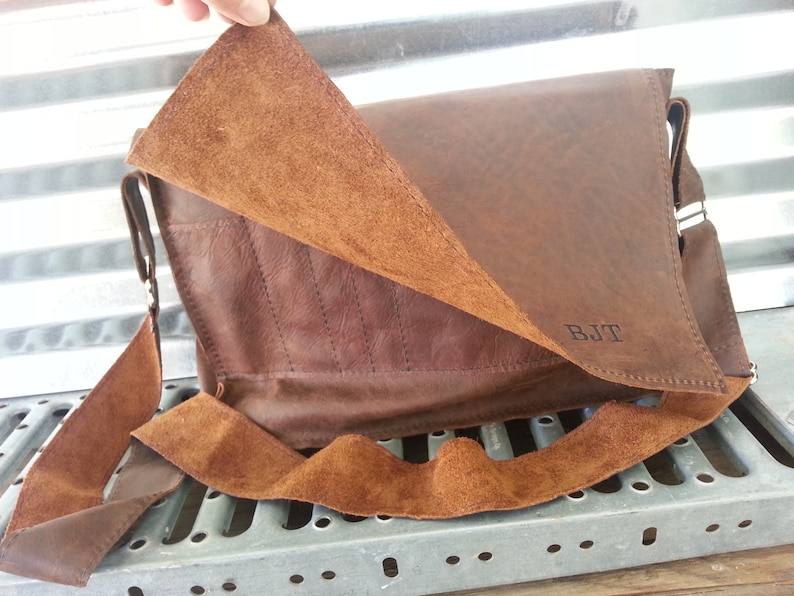 Raw Leather Messenger Bag Mocha Oiled Leather Satchel Made in the USA Man Bag Student Bag,