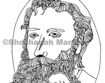 James Russell Lowell with a bird in his Beard, Adult Coloring, Pen and Ink Print Digital Download