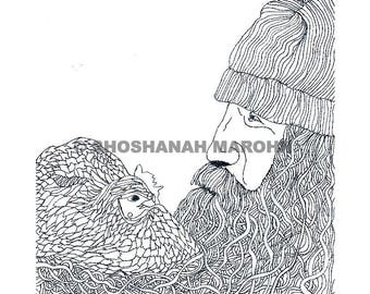 Man with a Chicken in his Beard Pen and Ink Print Digital Download