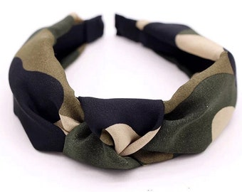 Green Army Camouflage Fabric Hair Bow Headband Bandana Ponytail Tie Band Girl