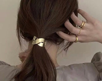 Warm 3-Pack Leather Hair Cuff Ponytail Holder in Gold Rose Gold and Bronze size 3inches