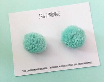 Baby/Child/Toddler/Girl's Pom Pom Piggies: Aqua Yarn Pom Pom Pigtail Hair Clip Set, Spring Summer Girls Hair Accessories