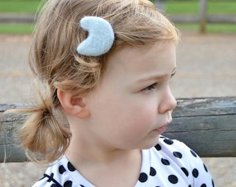 Baby/Child/Infant/Toddler/Girl's 100% Wool Felt Puffy Gray Moon Hair Clip, Goodnight Moon Clip or Nylon Headband