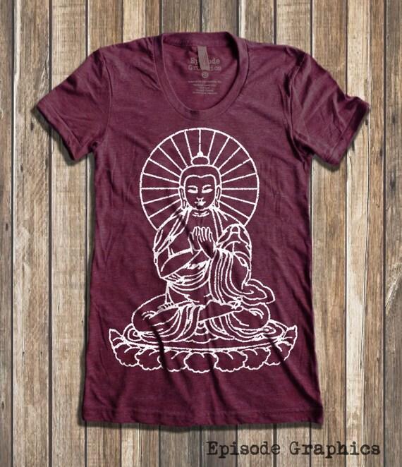 781b7b209834fc Buddha graphic Print Women's round neck T-shirts | Etsy