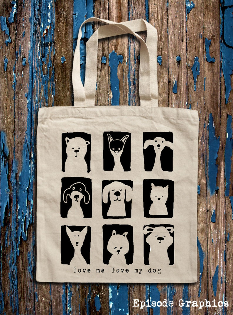 print Cotton Canvas Tote Bag Love My Dog graphic