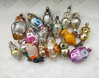 Vintage Soviet Christmas tree decoration, Owl Glass Ornament, Christmas decor, Retro Tree decoration, Made in USSR
